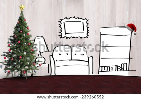 Christmas tree and hat on the shelf against living room sketch - stock photo
