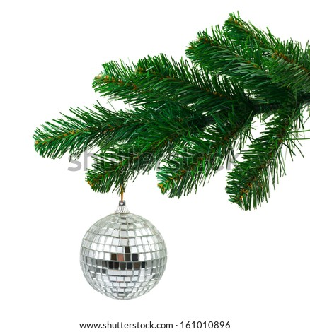 Christmas tree and mirror ball isolated on white background - stock photo