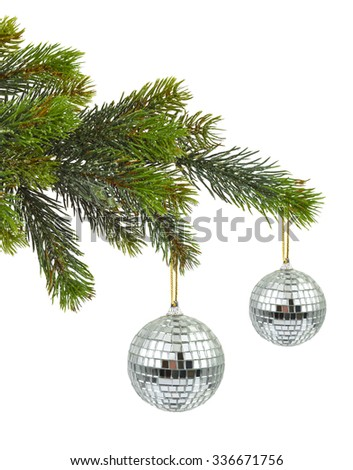 Christmas tree and mirror balls isolated on white background - stock photo