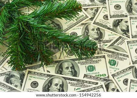Christmas tree and money - holiday background - stock photo