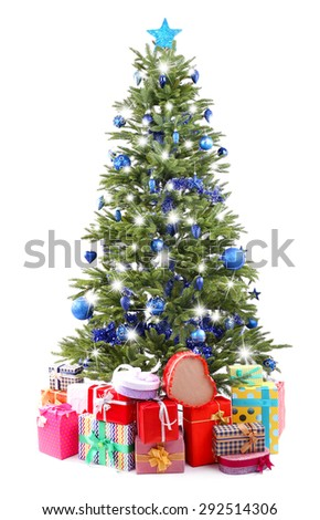 Christmas tree and presents isolated on white - stock photo