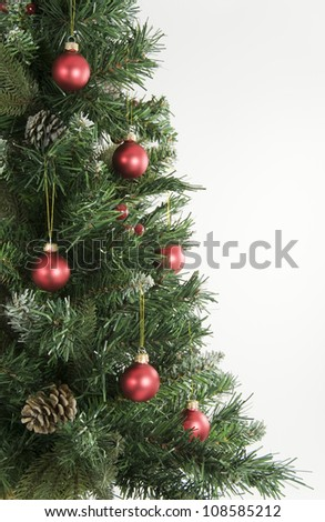 Christmas Tree and Red Decorations - stock photo