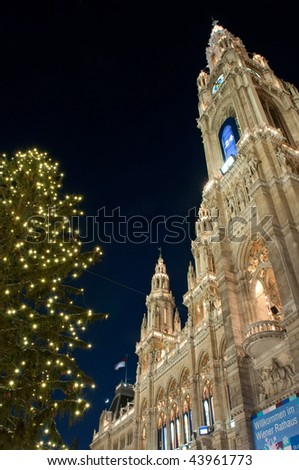 Christmas tree and Town hall (Rathaus) in Vienna, Austria - stock photo