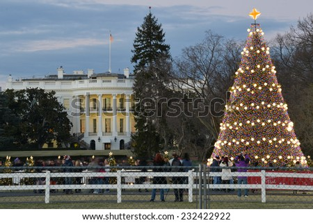 Christmas Tree and White House in Washington DC, United States - stock photo