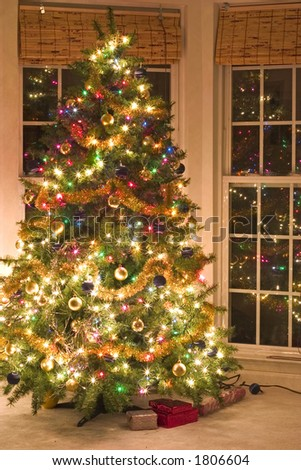 christmas tree at night with lights - stock photo