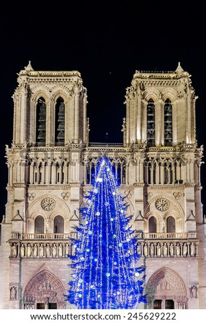 Christmas tree at Notre Dame in the evening. Notre Dame - most famous Gothic, Roman Catholic cathedral (1163 - 1345) on eastern half of Cite Island. Paris, France. - stock photo