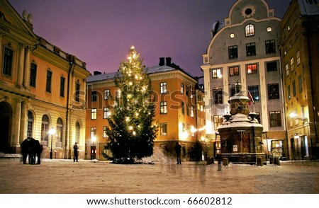 Christmas tree at Stortorget in Gamlastan, Stockholm, Sweden - stock photo