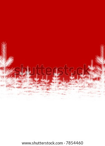 Christmas Tree Background on Red - stock photo