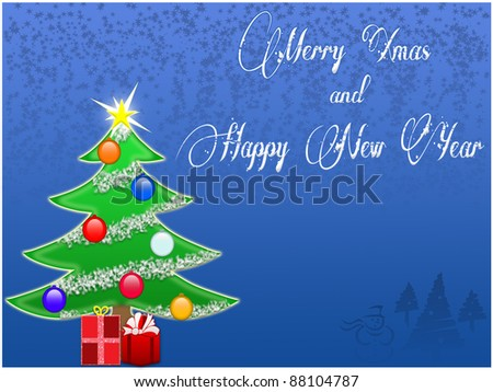 Christmas tree background with balls and gifts