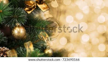 Christmas tree background with de-focused lights