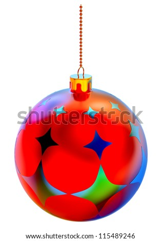 Christmas-tree ball with ornaments on white background - stock photo