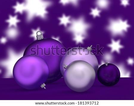 Christmas tree balls in purple. - stock photo