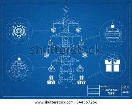 Christmas tree - blueprint - stock photo