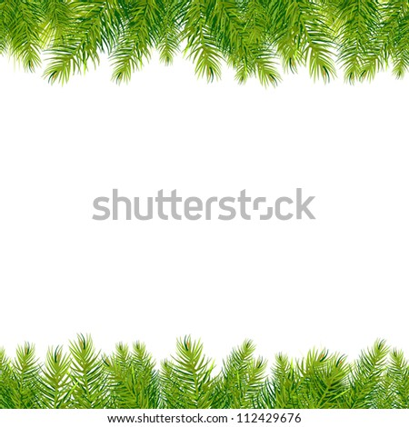 Christmas Tree Borders, Isolated On White Background - stock photo