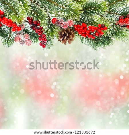 christmas tree branch decoration with red berries on blurred background - stock photo