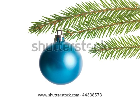 christmas tree branch with blue decoration isolated on white background