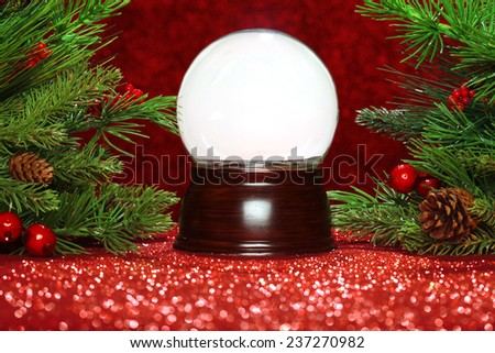 Christmas tree branches with empty snowglobe - stock photo
