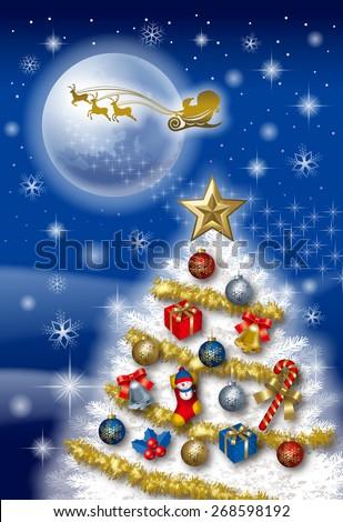 Christmas tree Card. / Vertical. - stock photo