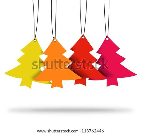 christmas tree ,christmas card ,tags - stock photo