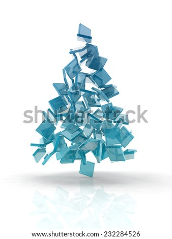 Christmas tree composed by glass cubesglass cubes on white background. - stock photo