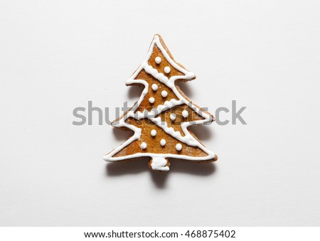 Christmas tree cookies from Gingerbread isolated on white background