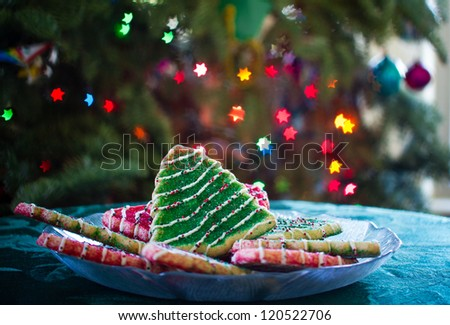 Christmas Tree Cookies with Star Bokeh from Xmas lights - stock photo