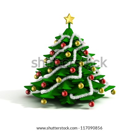 christmas tree 3d illustration - stock photo