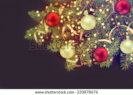 Christmas Tree Decorated.Over Black.  - stock photo