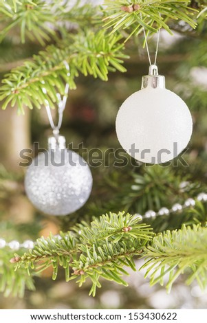 Christmas tree decorated with beautiful baubles