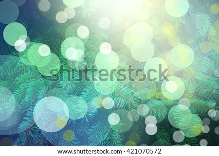 Christmas tree decorated with colorful lights, close-up - stock photo
