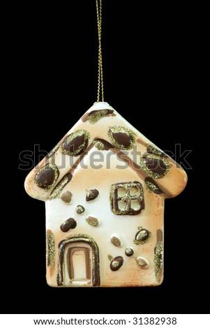 Christmas tree decoration ball isolated on black background - stock photo