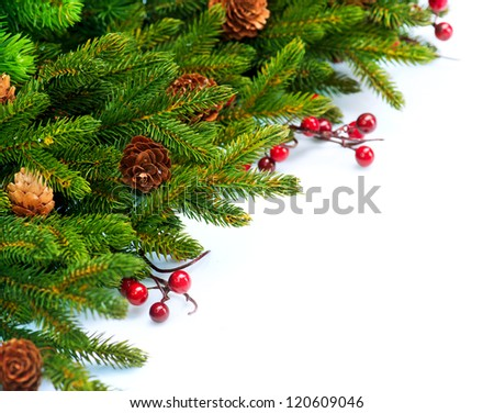 Christmas Tree decoration Border Design.Evergreen Corner. Isolated on a White Background - stock photo