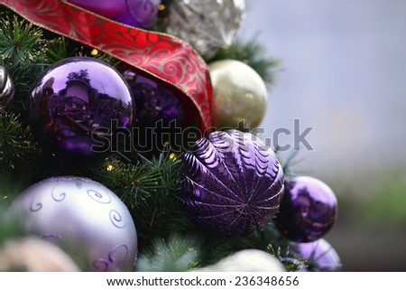 Christmas tree decoration Christmas tree is a decorated tree, usually an evergreen conifer such as spruce, pine, or fir associated with the celebration of Christmas. - stock photo