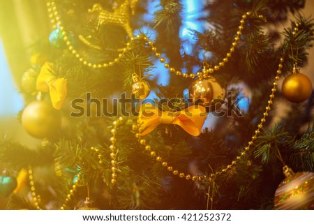 Christmas tree decoration closeup for New year background - stock photo