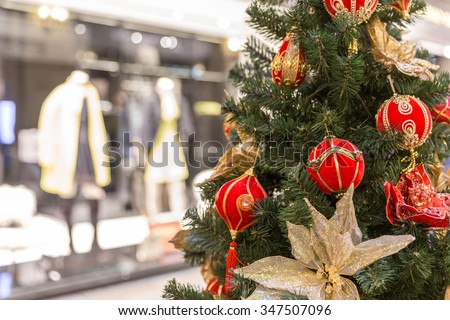 Christmas tree decoration in shopping mall - stock photo