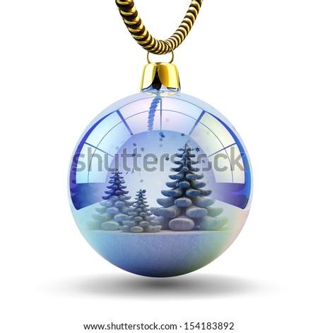 Christmas tree decoration isolated on white. Beautiful Christmas ball with a Christmas tree and snow inside it. - stock photo