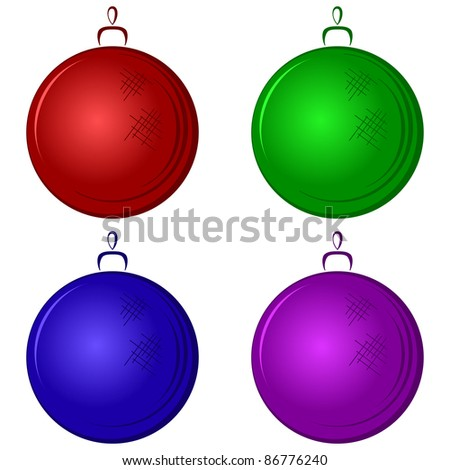 Christmas tree decoration: multicolored glass balls, isolated - stock photo