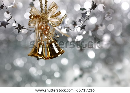 Christmas tree decoration on silver light background