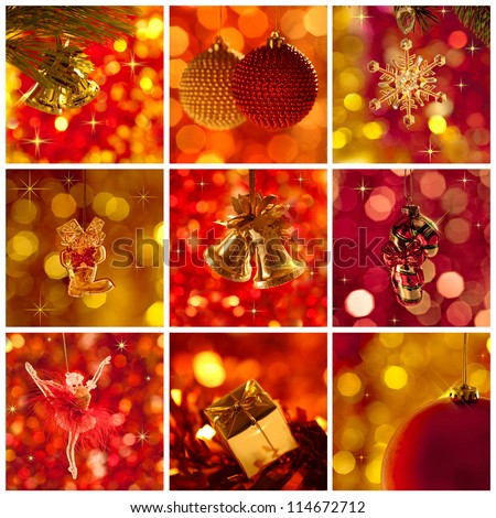 Christmas tree decorations against glitter lights background. Collage - stock photo