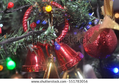 Christmas tree decorations bells red Christmas holiday