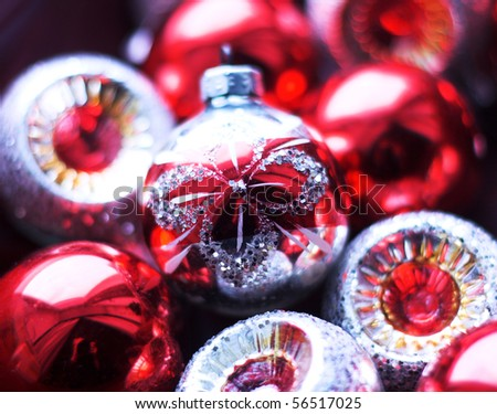 Christmas-tree decorations. Bright beautiful background. - stock photo