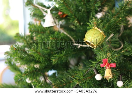 Christmas tree decorations in cafe