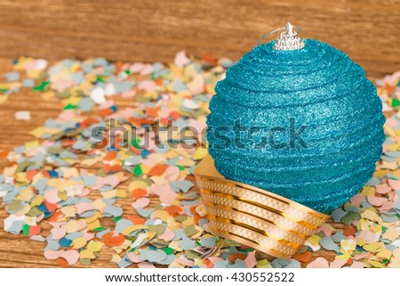 Christmas-tree decorations. Located on a wooden background. - stock photo