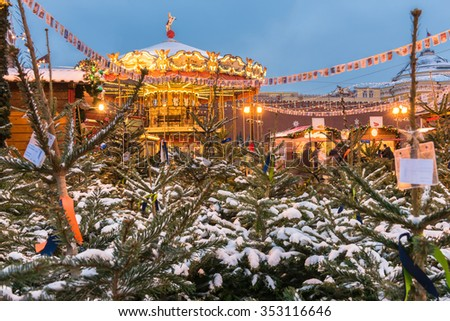 Christmas tree fair on Red Square in Moscow. Russia. - stock photo
