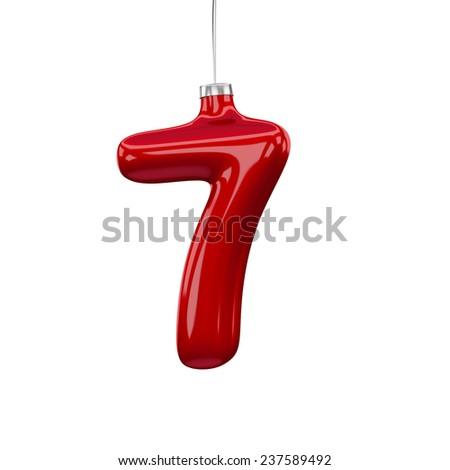 Christmas Tree Font: digit 7 isolated on white - stock photo
