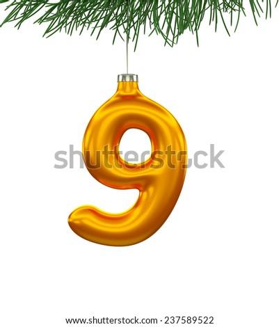 Christmas Tree Font: digit 9 isolated on white - stock photo
