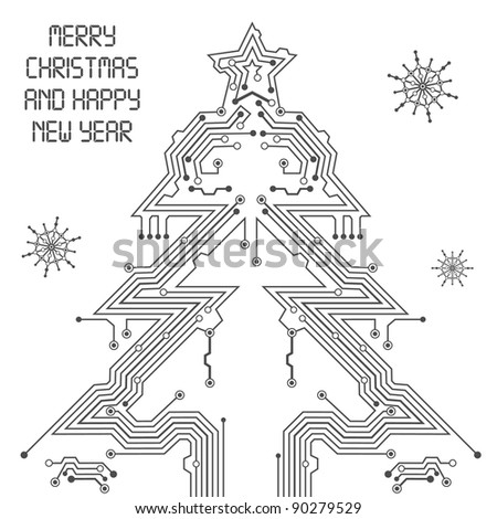 Christmas Tree from circuit board with Digital Snowflake, element for design, raster version - stock photo