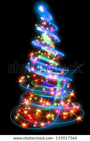 christmas tree from the xmas lights (play with the light) - stock photo