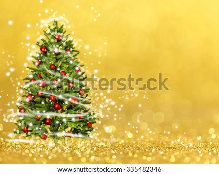 Christmas tree from the xmas lights (play with the light). Gold bokeh background
