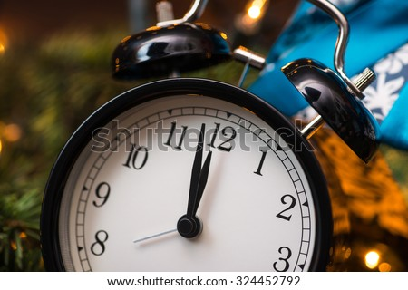Christmas tree, gifts, lights and clock - stock photo